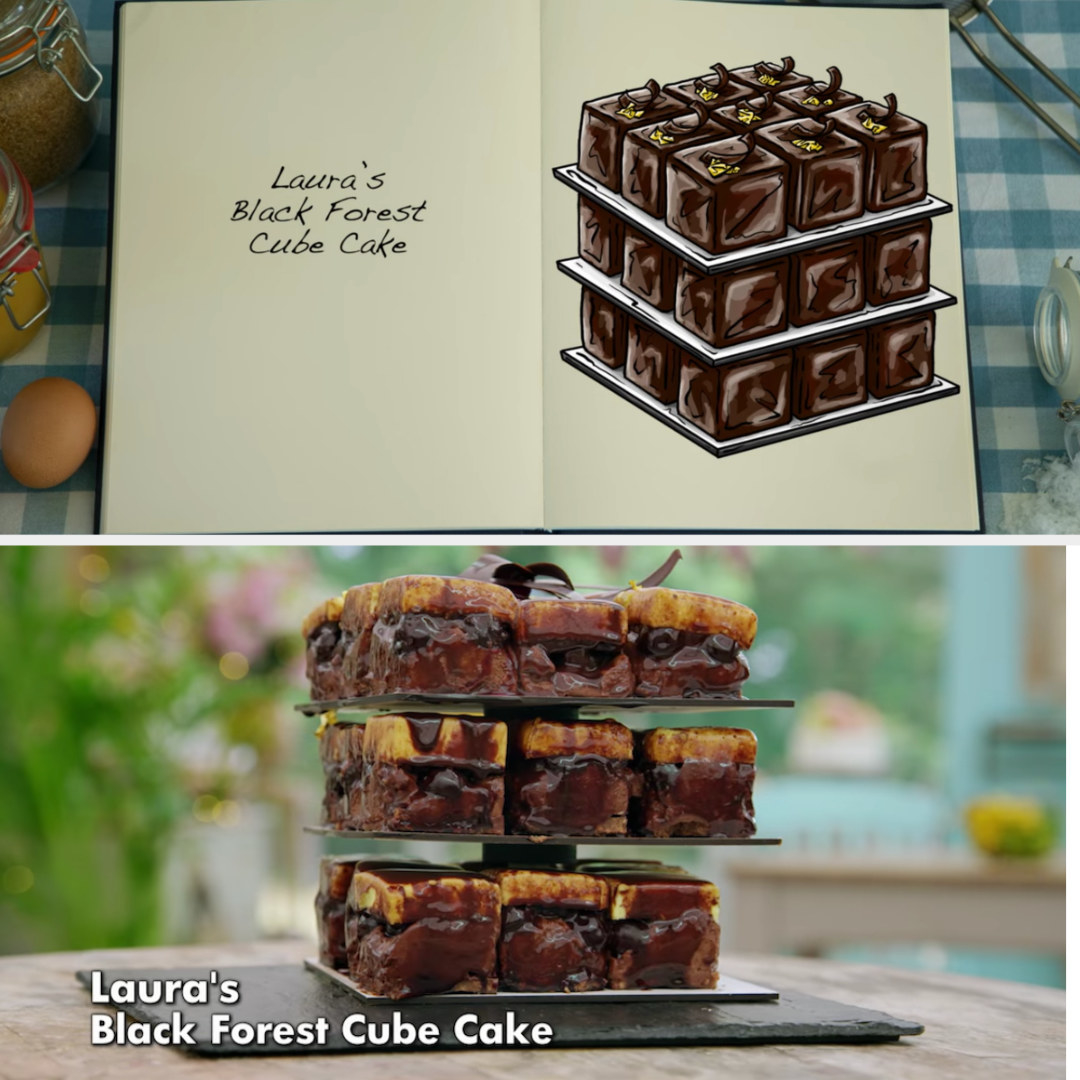 Laura's cube cakes side by side with their drawing