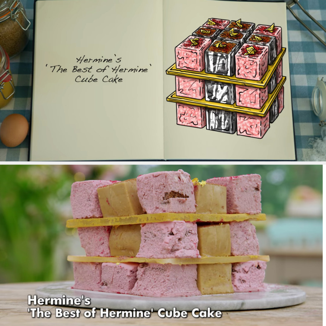 Hermine's cube cakes side by side with their drawing