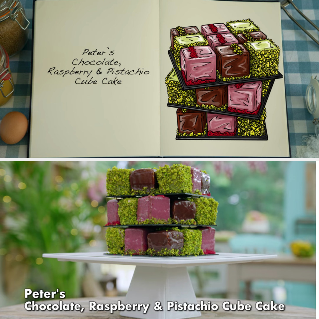 Peter's cube cakes side by side with their drawing