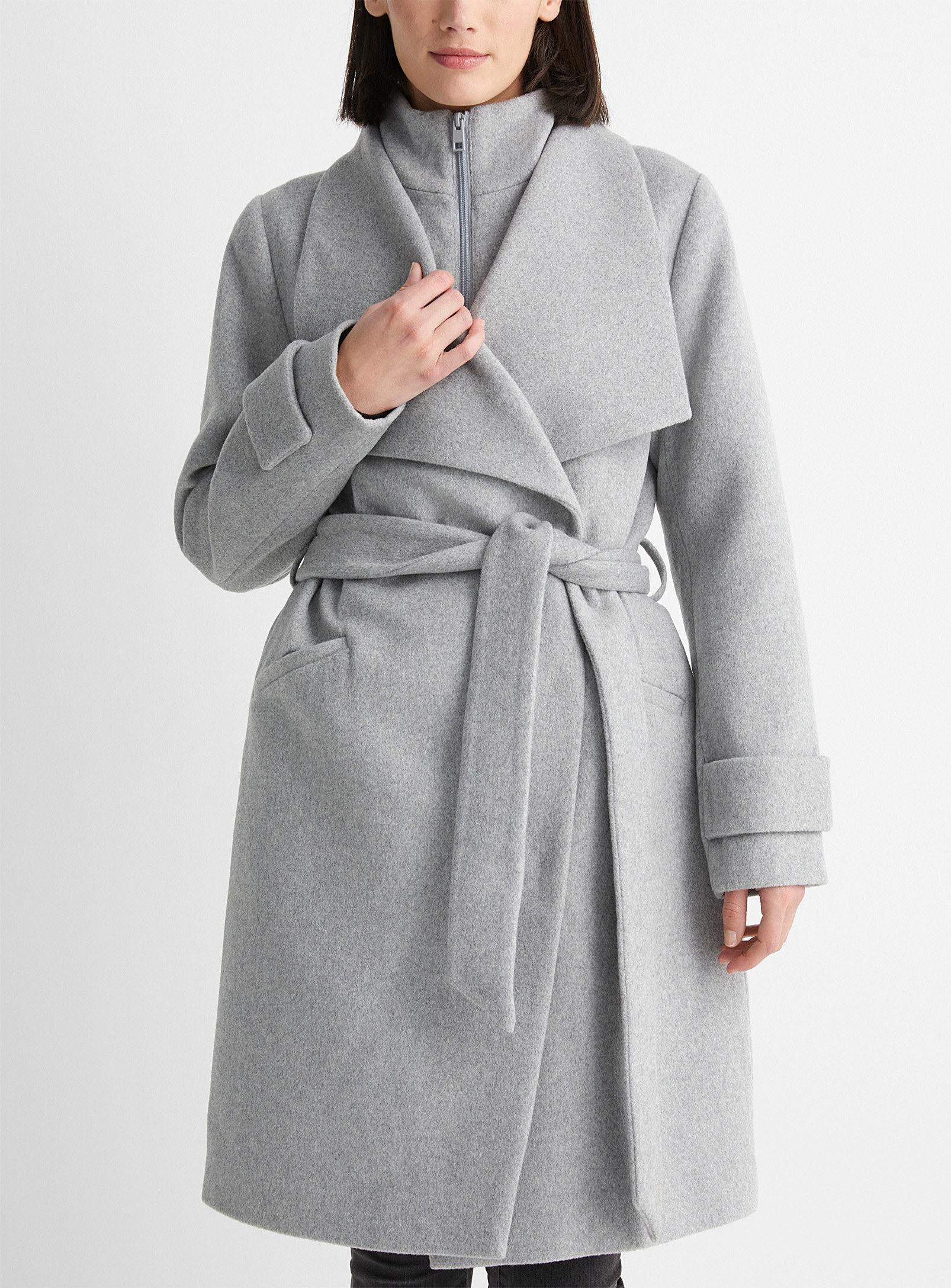 A person wearing a wool coat