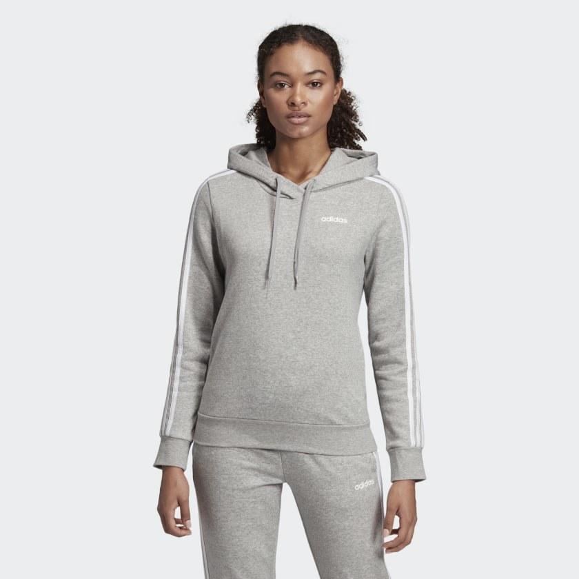 Model wearing grey hoodie