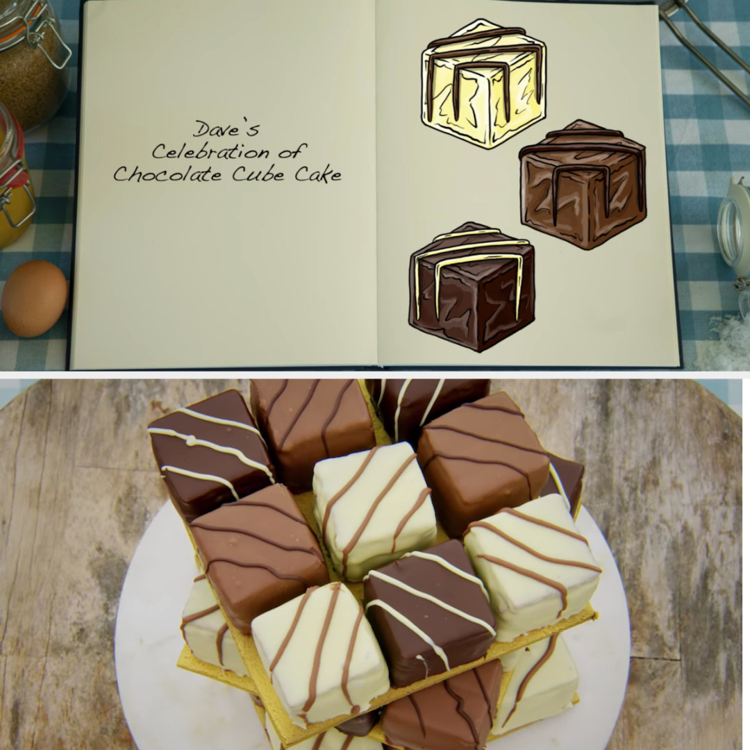 Dave's cube cakes side by side with their drawing