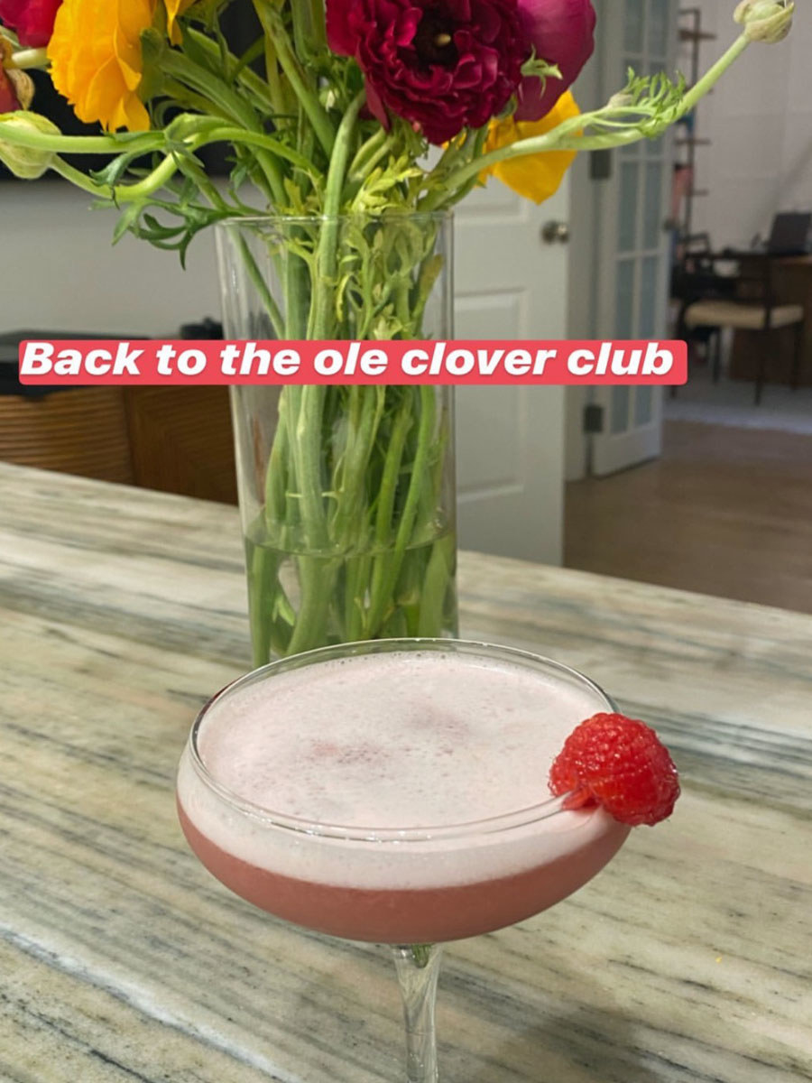 A bright pink Clover Club cocktail with raspberry garnish.