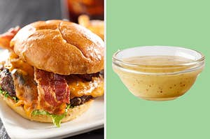 On the left, a bacon cheeseburger, and on the right, honey mustard from McDonald's