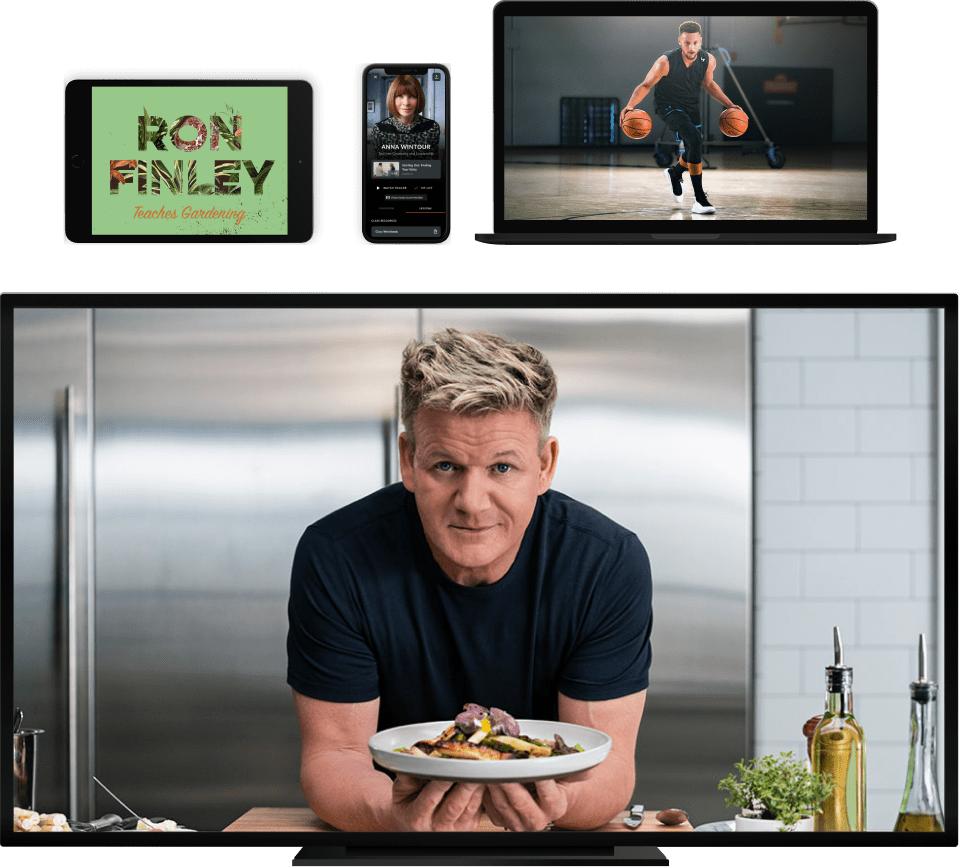 MasterClass courses with Ron Finley, Anna Wintour, Stephen Curry, and Gordon Ramsay displayed on a tablet, iPhone, laptop, and TV