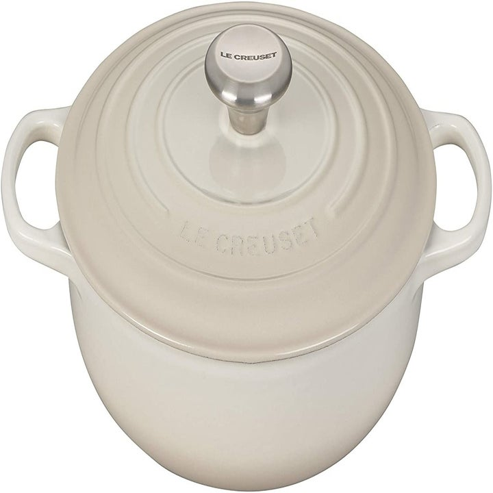 An ivory cast iron Le Creuset oven