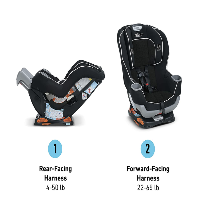 The car seat in two modes: rear facing and forward facing