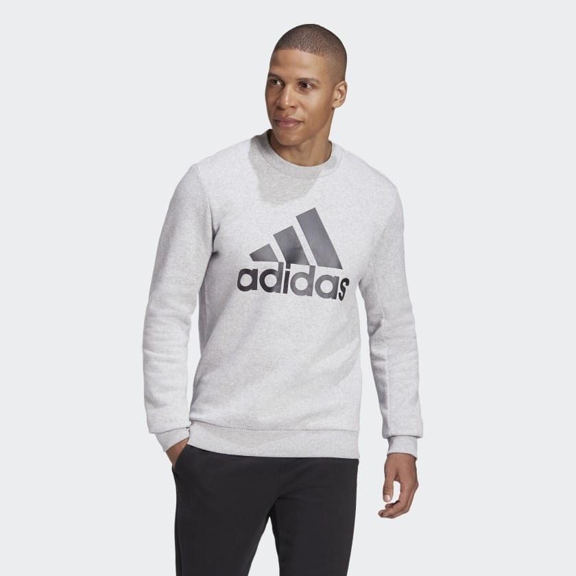 Model wearing grey sweatshirt