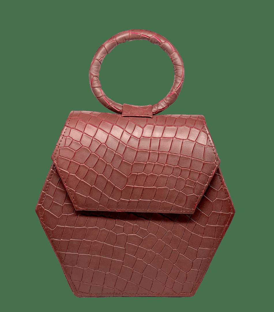 The designer handbag in burgundy
