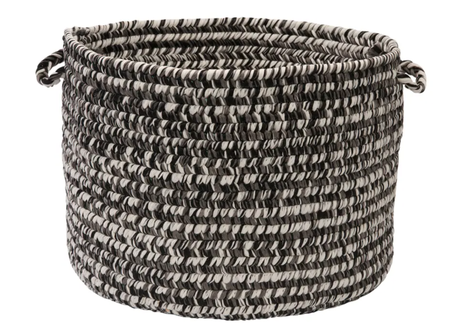 a black, white, and gray woven basket