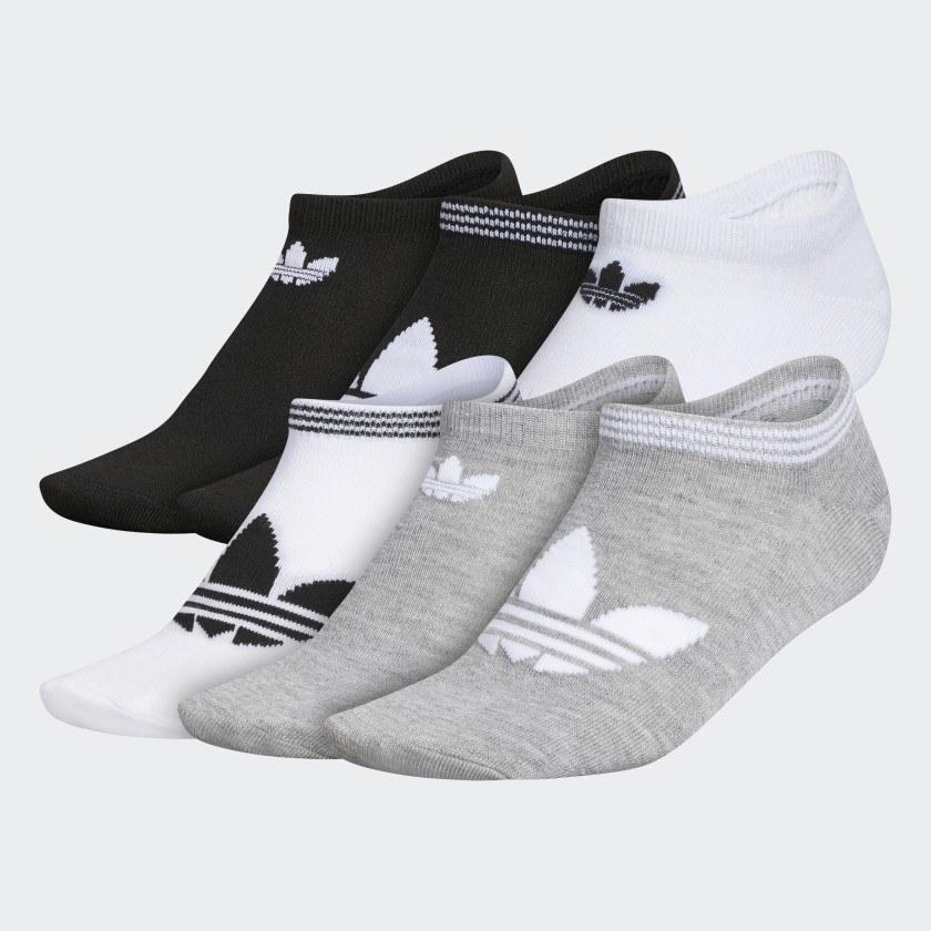 Six pack of white, black, and grey socks