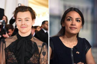 Harry Styles smiling at the Met Gala next to an image of AOC at a press event