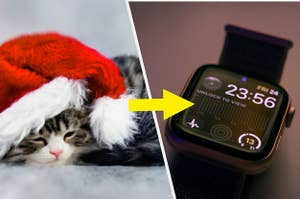 A cat is dressed in a Santa hat on the left with an arrow pointing to an Apple Watch