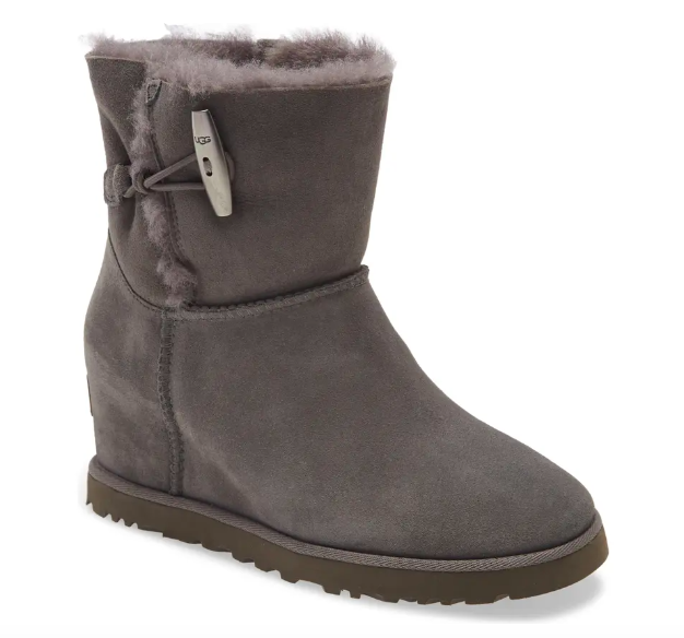 UGG Classic toggle wedge boot in charcoal suede