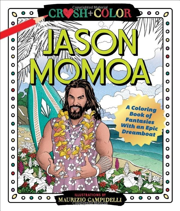 The coloring book cover which has Jason Momoa posed in front of a surfboard on the beach