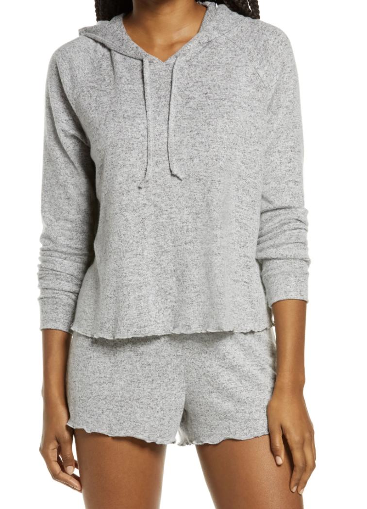 Model wears BP All tucked in short pajama pants