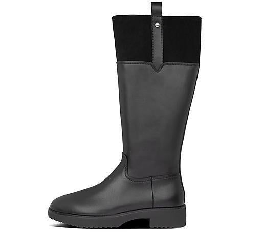 A knee-high black leather boot with a short block heel and suede detailing along the top