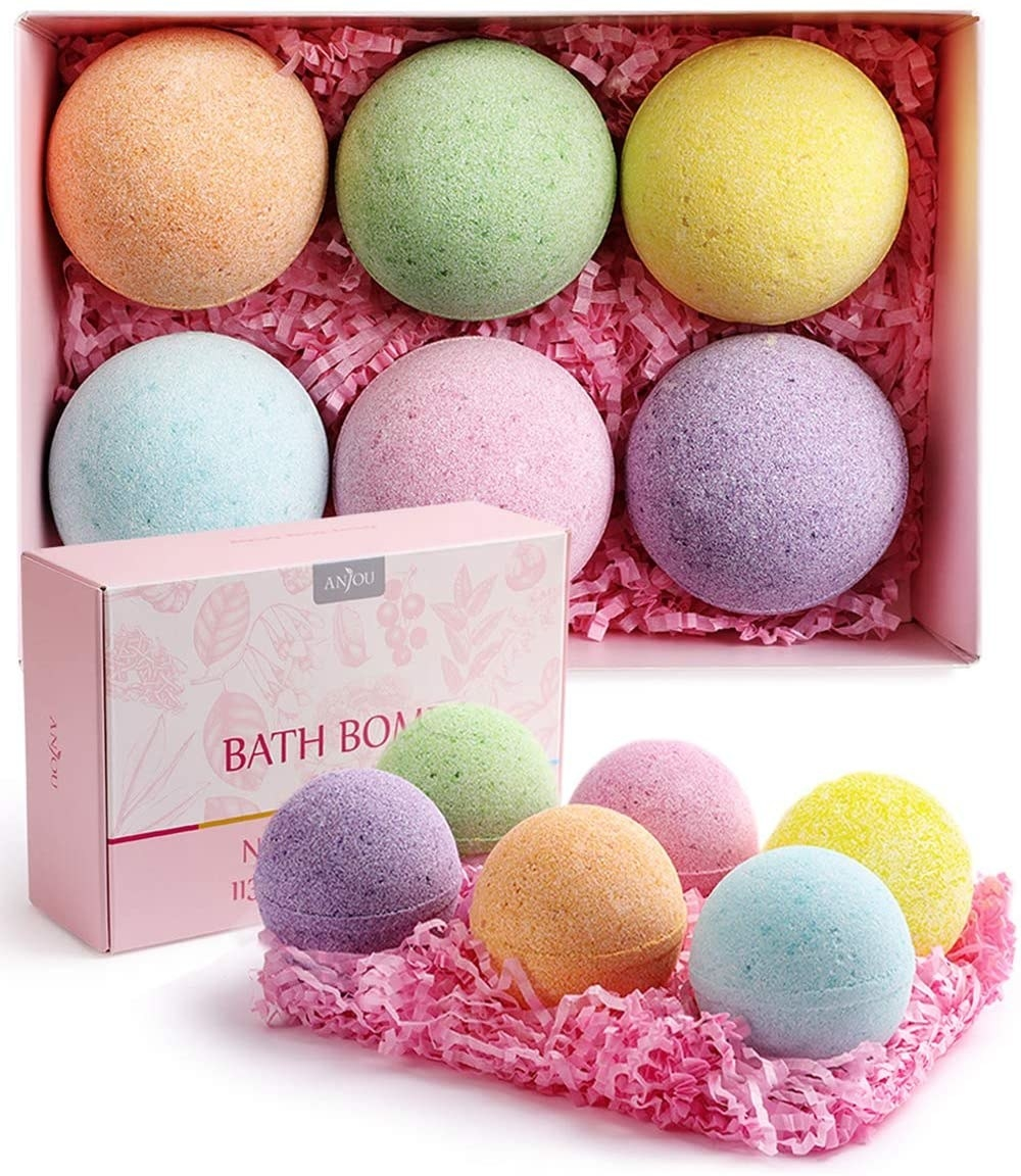 Two gift boxes with six bath bombs in each