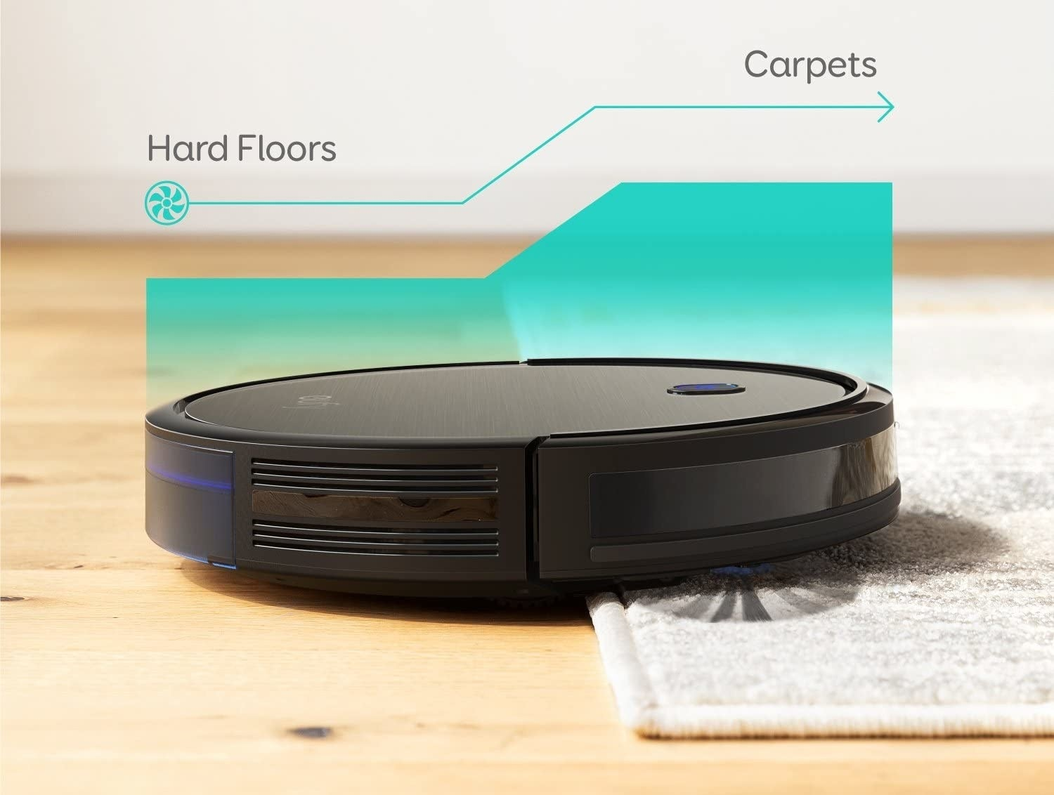 a robot vacuum moving from a hard floor to a carpet
