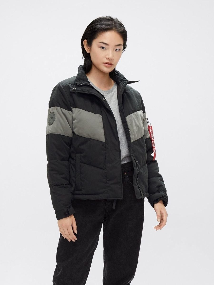 a model wears the chevron puffer parka