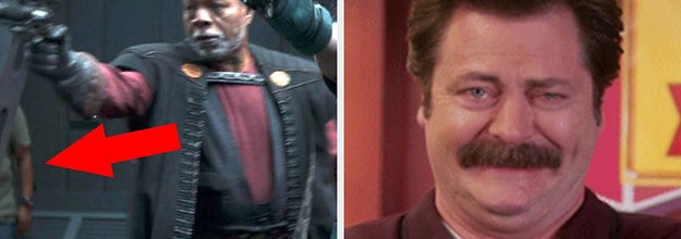 A side-by-side of a crew member in the background of a shot from