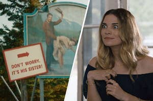 Alexis Rose looking at the Schitt's Creek town sign with a bemused expression