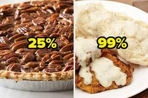 pecan pie and chicken fried steak