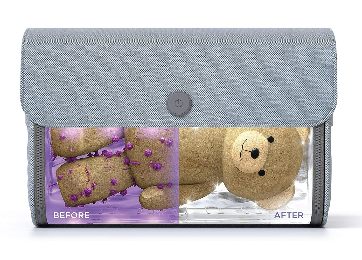 A bear with germs before being sanitized // The bear with no germs after being sanitized by the bag