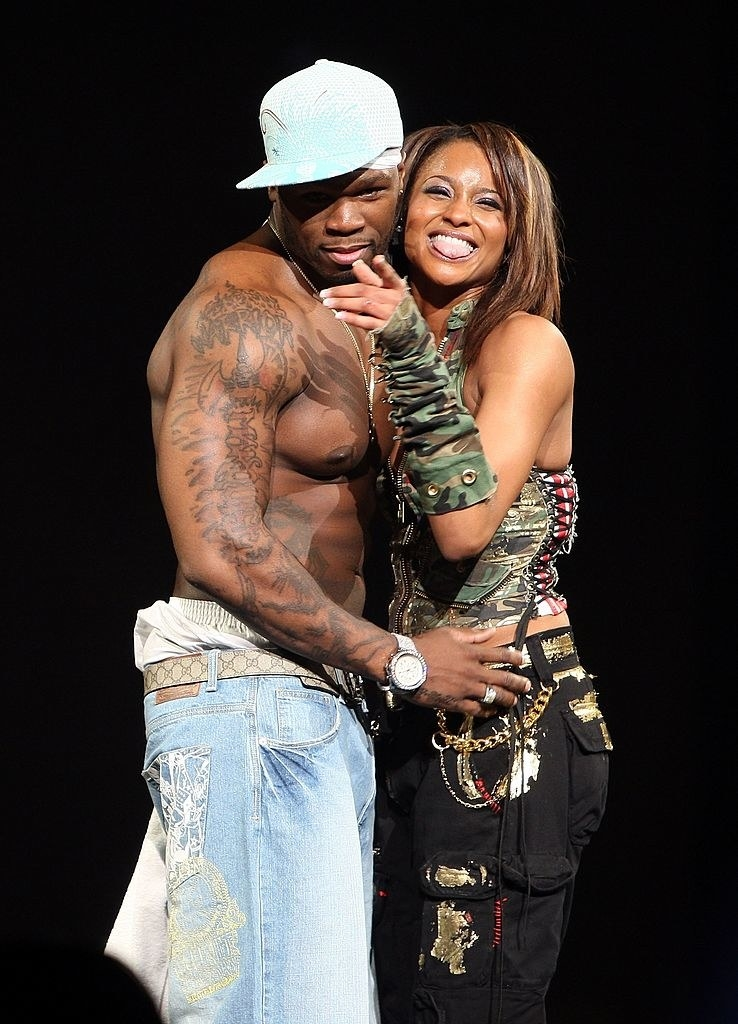 Ciara and 50 Cent performing onstage in New York City in 2007