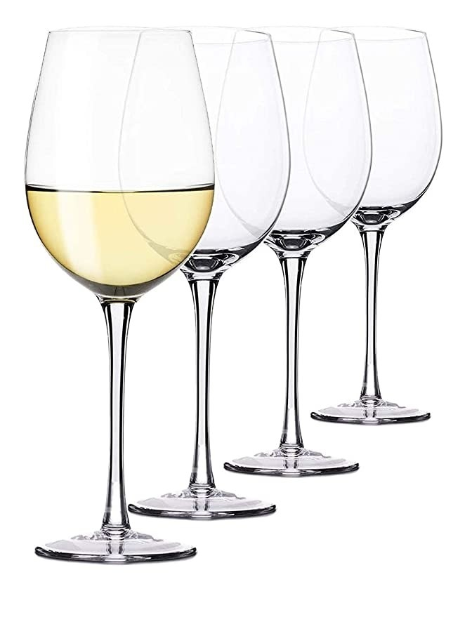 Four clear wine glasses.