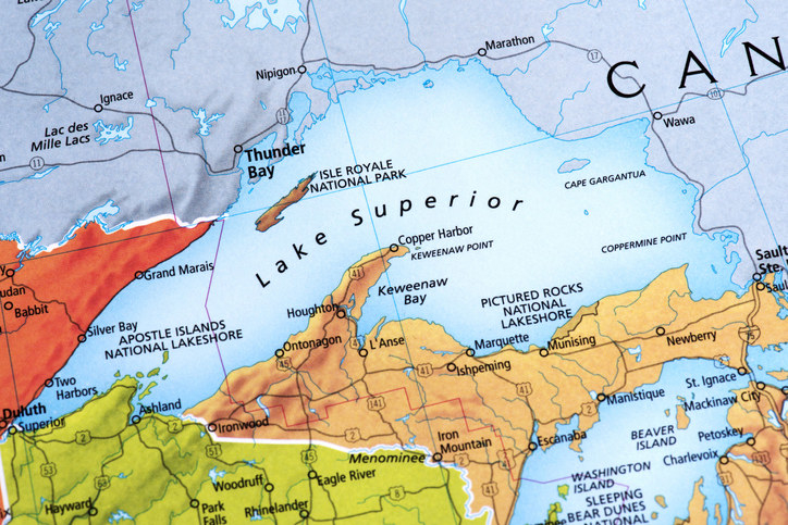 Map of Lake Superior between USA-Canada. Detail from the World Map.