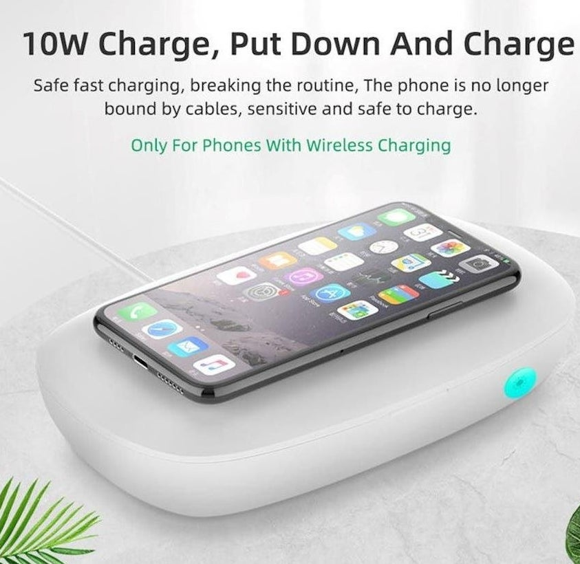 Phone sanitizer charging a smartphone