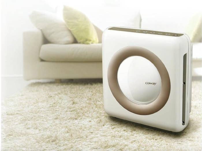 The air purifier with HEPA and smart mode in white