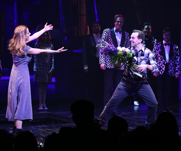 Barbara and Adam doing curtain calls of the musical