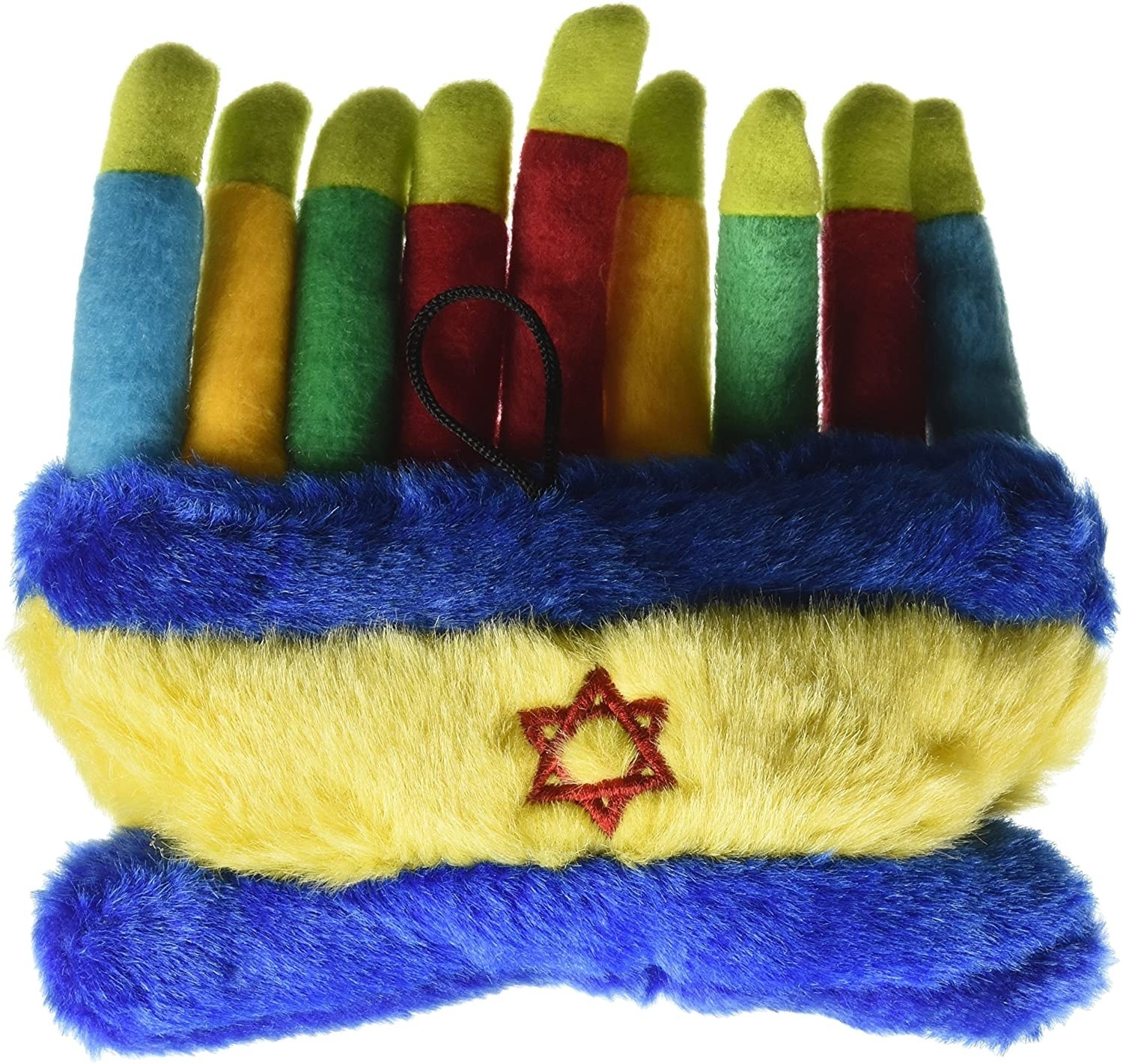 The plush toy, which looks like a menorah, and has a long yellow base with a Star of David on it, and nine plush candles, each with a fabric flame
