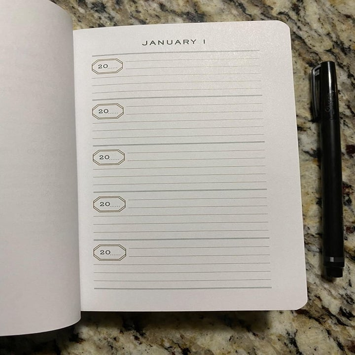 the inside of the journal showing small entry spots for memories over five years on January first