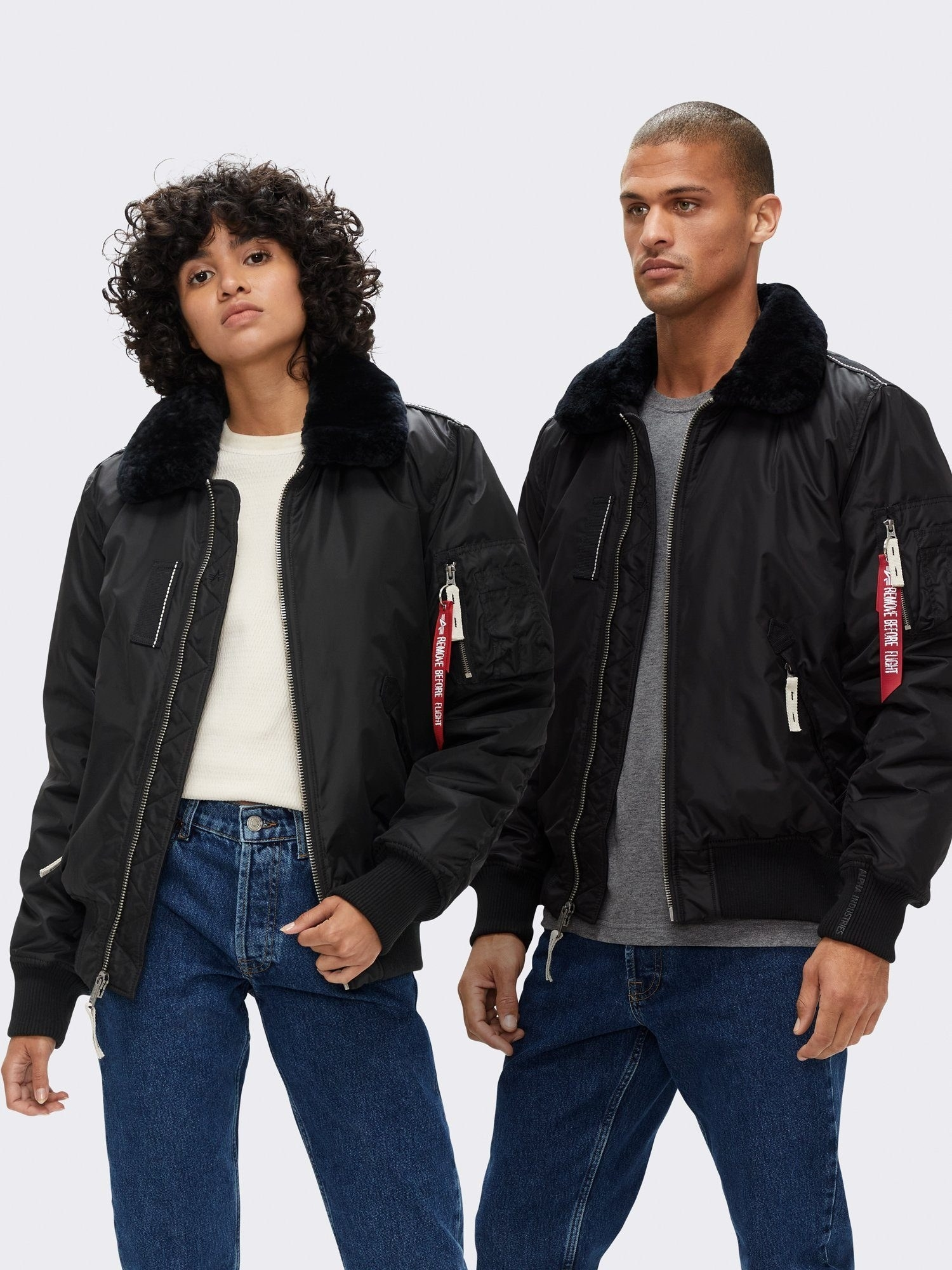 two models wear the injector iii mod bomber jacket