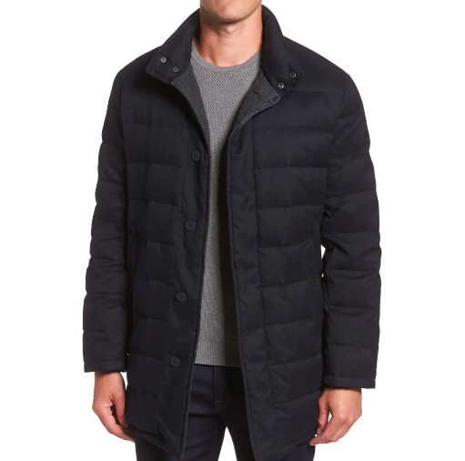 model wearing Cole Haan quilted jacket in navy