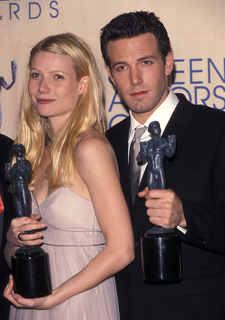Gwyneth Paltrow and Ben Affleck holding SAG Awards in the late '90s