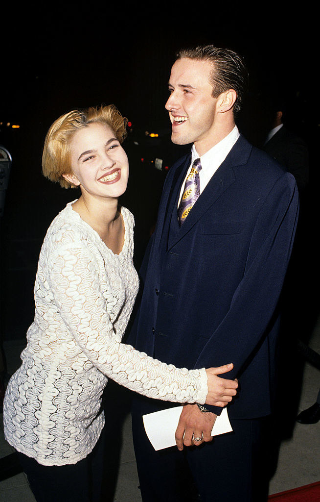 """Drew Barrymore and David Arquette at the """"Bugsy"""" movie premiere in 1991"""
