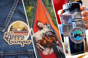 A camping patch, a person and a dog in a hammock, and a Nalgene water bottle