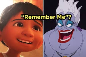 "Side-by-side images of Miguel from ""Coco"" and Ursula from ""The Little Mermaid"" with the question ""'Remember Me?""' over top"