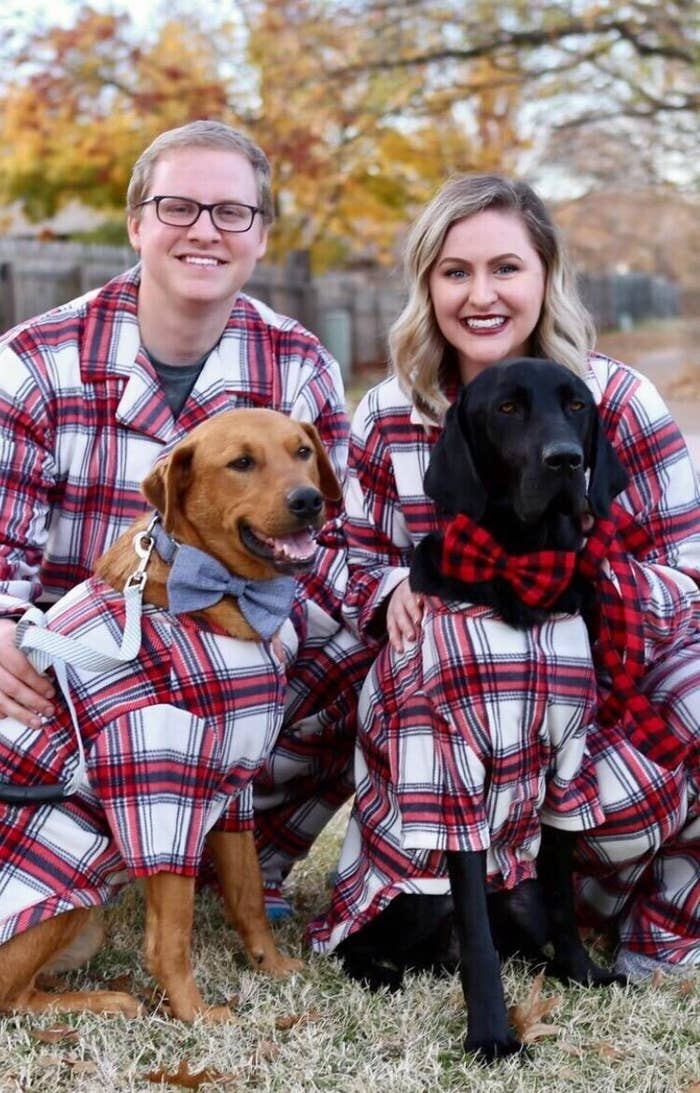 The pajamas, which were a red-and-white plaid with blue stripes, which fit normally on the humans and fit loosely on the dogs with loose sleeves