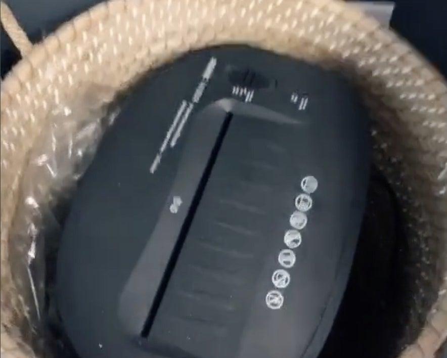 A shredder hidden in a basket