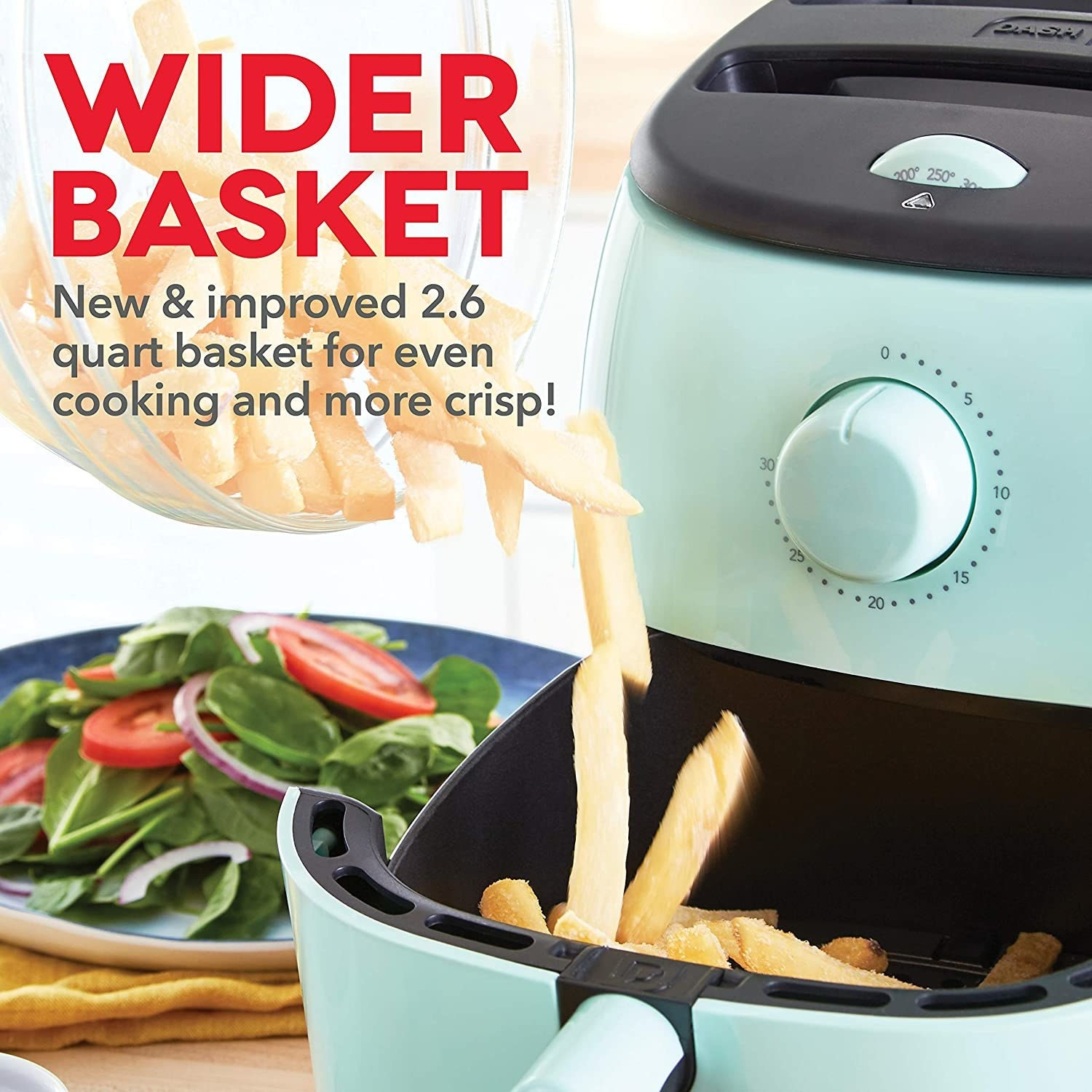 "The light blue fryer with pull-out drawer with fries and text ""wider basket for even cooking and more crisp"""