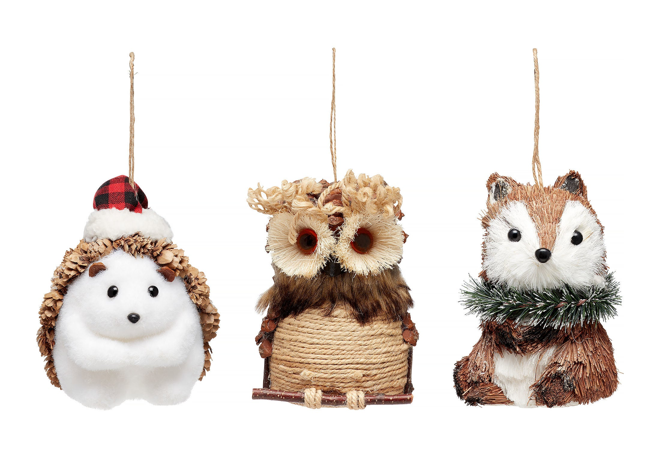 The three woodland animals ornaments
