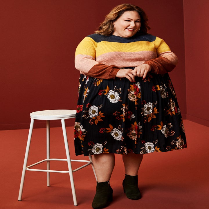 Actress Chrissy Metz wearing the skirt in floral print