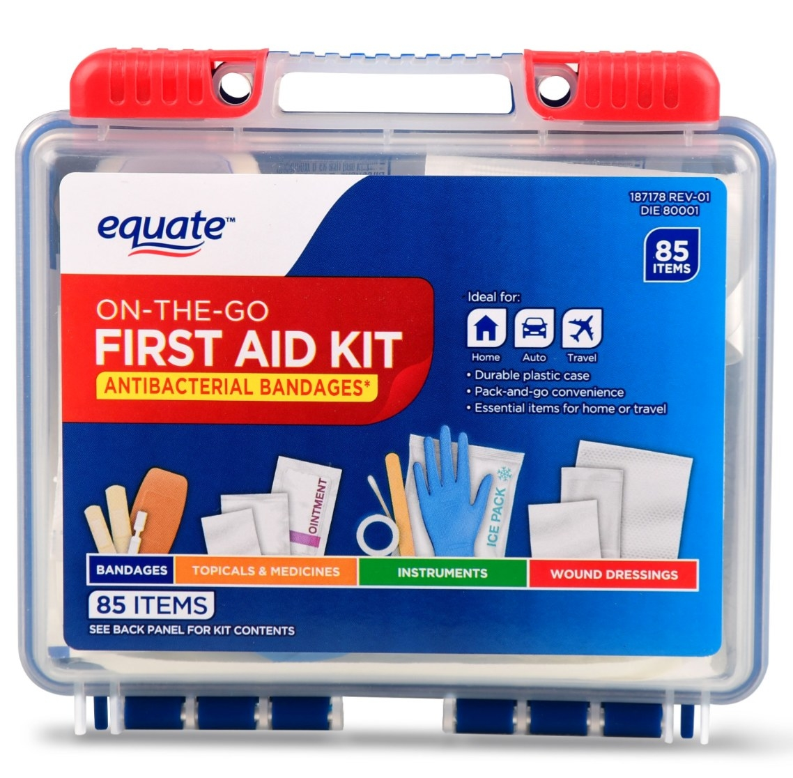 The first aid kit in its plastic packaging