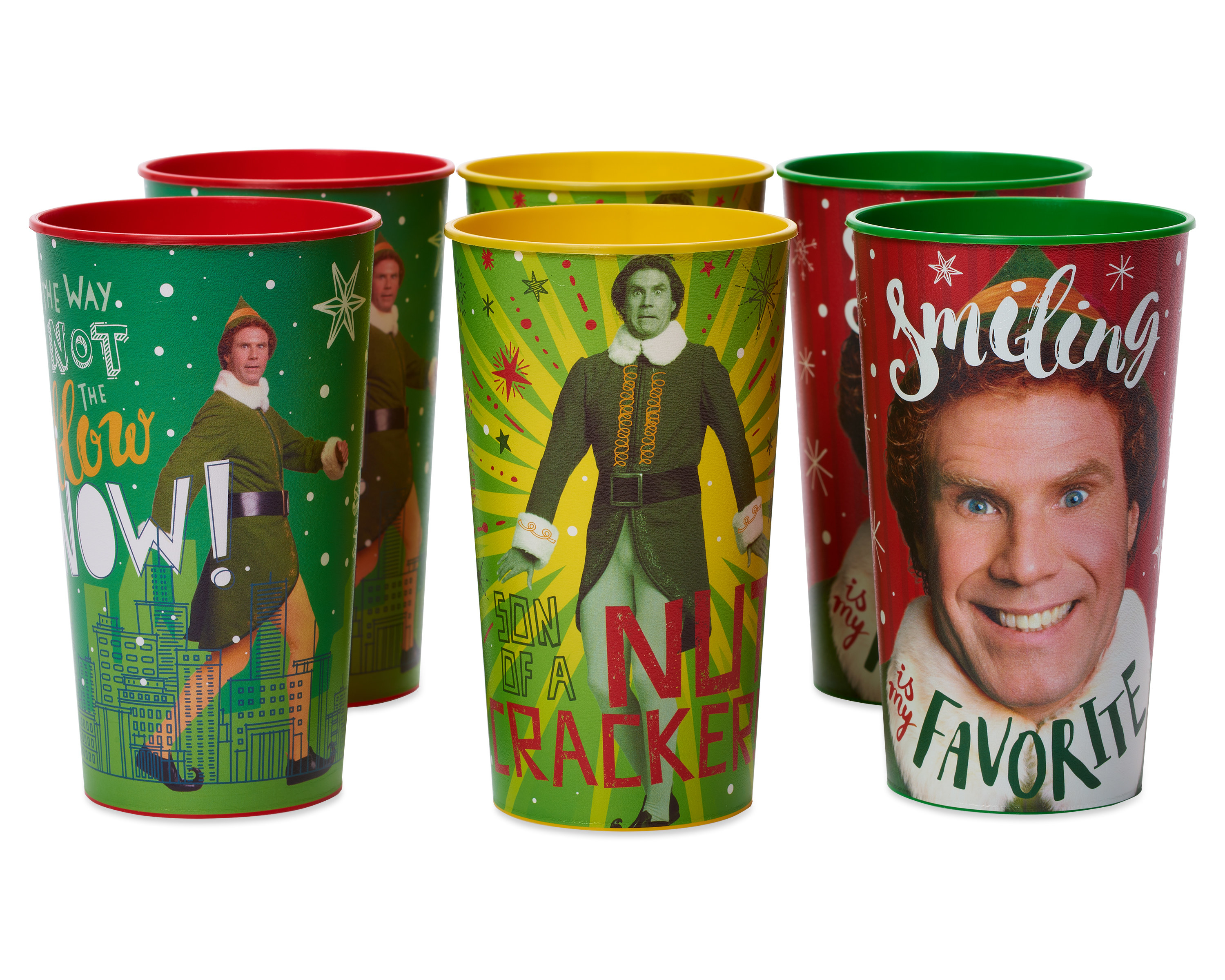 Six of the cups in three different styles featuring scenes from the movie Elf