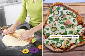 """An adjustable rolling pin / a pizza with five stars and text """"adds so much flavor"""""""